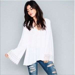 Show Me Your MuMu Mal Top White Lace Bell Sleeves